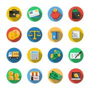 Sixteen Different Icons in a Flat Style Stock Illustration