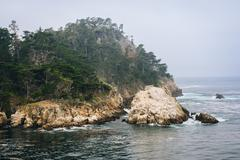View of rocky bluffs and the Pacific Ocean, at Point Lobos State Natural Rese - stock photo