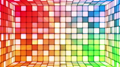 Broadcast Twinkling Hi-Tech Cubes Room, Multi Color, Abstract, Loopable, HD Stock Footage