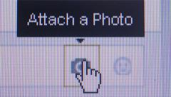 Social Media Macro Close Up: Cursor hand selects 'Attach Photo' Stock Footage
