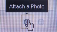 Stock Video Footage of Social Media Macro Close Up: Cursor hand selects 'Attach Photo'