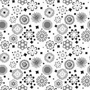 Black and White Vector Flower Pattern - stock illustration