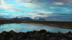 Slide from a snowy mountains landscape in Iceland Stock Footage