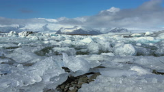 Slide from the Jökulsárlón Glacier lagoon in southeast Iceland Stock Footage