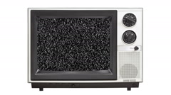 Vintage 1980's Television with Static Screen and Zoom - stock footage