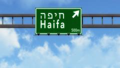 4K Passing Haifa Israel Highway Road Sign with Matte 2 stylized Stock Footage