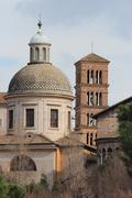 Dome of Santi Giovanni e Paolo church, Rome - stock photo