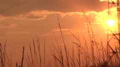 Sunset with iron pillar and dry grass in the foreground Stock Footage