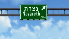 4K Passing Nazareth Israel Highway Road Sign with Matte 2 stylized Stock Footage