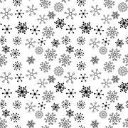Black and White Vector Flower Pattern - stock illustration