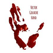 Vector blue greased hand of gouache - stock illustration
