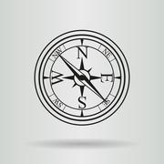 Line vector compass with cord - stock illustration