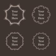 Vector ornate richly decorated vintage frame in Victorian style - stock illustration