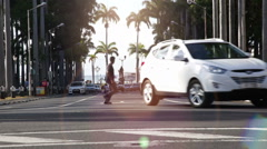 Traffic with cars in port luois Stock Footage