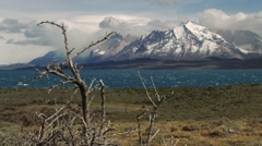 View to the lake in Torres del Paine National park, Patagonia, Chile. Stock Footage
