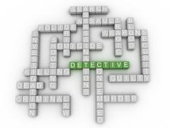 3d image Detective  issues concept word cloud background - stock illustration