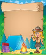 Parchment with advising scout girl - eps10 vector illustration. - stock illustration