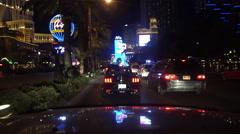 4K UHD Las Vegas Strip Night south bound Paris Planet Hollywood Aria Stock Footage