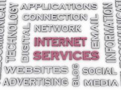 3d image Internet Service  issues concept word cloud background Stock Illustration