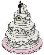 Bridal cake - stock illustration