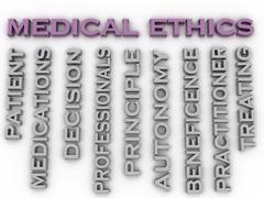 3d image medical ethics   issues concept word cloud background Stock Illustration