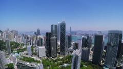 Beautiful Clear Sky Hong Kong City Aerial. Stock Footage