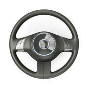 Black steering wheel - stock illustration