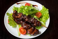 Appetizing grilled shashlik - stock photo