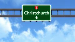 Stock Video Footage of 4K Passing Christchurch New Zealand Highway Road Sign with Matte 2 stylized