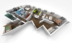 Aerial view of an apartment distribution Stock Illustration