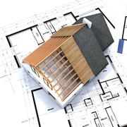 Aerial view of house in construction and blueprints Stock Illustration