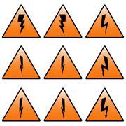 Triangular icons lightning. - stock illustration