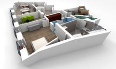 Apartment distribution Stock Illustration