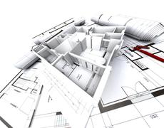 Appartment mockup on top of architect's blueprints Stock Illustration