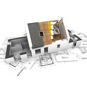 House with exposed roof layers and plans - stock illustration