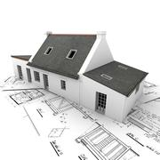 Stock Illustration of architectural model on top of blueprints