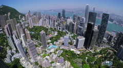 Hong Kong City Aerial. Beautiful Clear Blue Sky. - stock footage