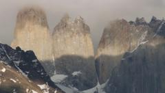 View to the famous granite towers in Torres del Paine National park, Chile. Stock Footage