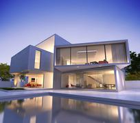 Stock Illustration of Contemporary house with pool