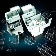 Designer Modern building on blueprints Stock Illustration
