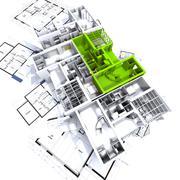 Green apartment mockup on blueprints Stock Illustration