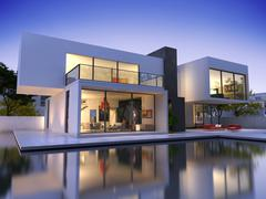 Stock Illustration of House cube A one pool