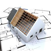 House in construction and blueprints  - stock illustration