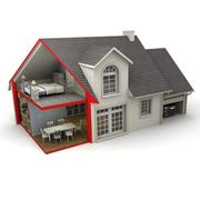 Stock Illustration of House indoors and outdoors