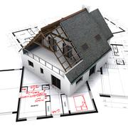 house on blueprints with notes and corrections - stock illustration