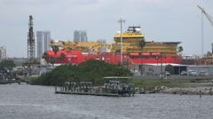 Large Industrial Housing Ship At Seaport 03 Stock Footage
