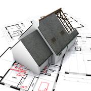 house on blueprints with handwritten corrections - stock illustration