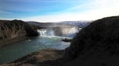 Time lapse slide from the Godafoss waterfall in Iceland Stock Footage
