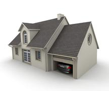 house with a garage - stock illustration