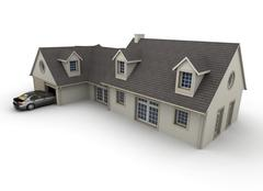 House with garage - stock illustration